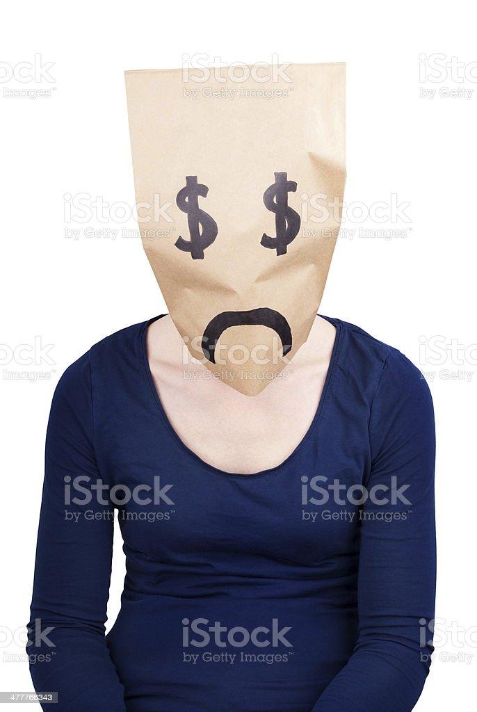 desperate dollar paper bag stock photo