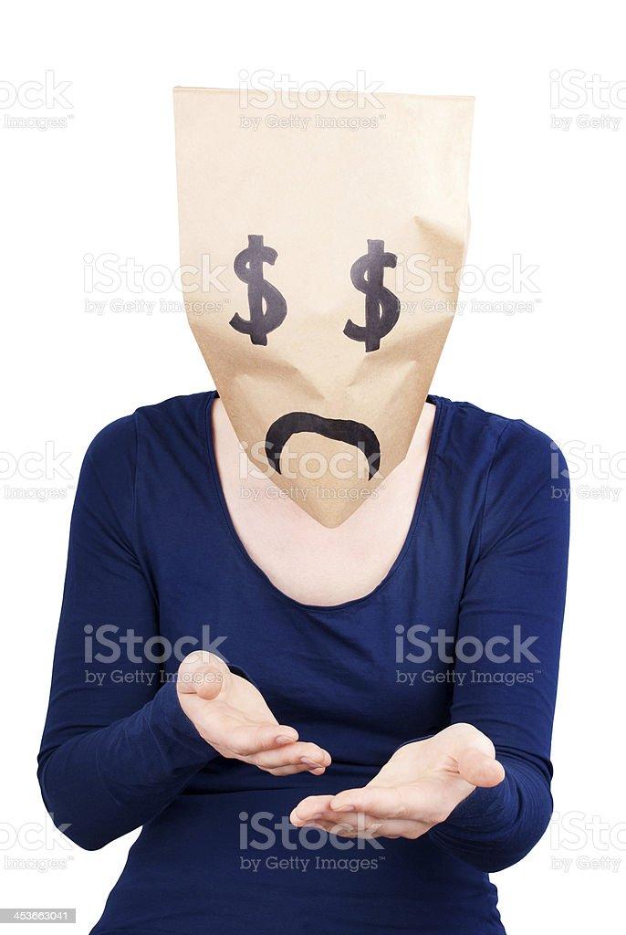 desperate dollar sign bag stock photo
