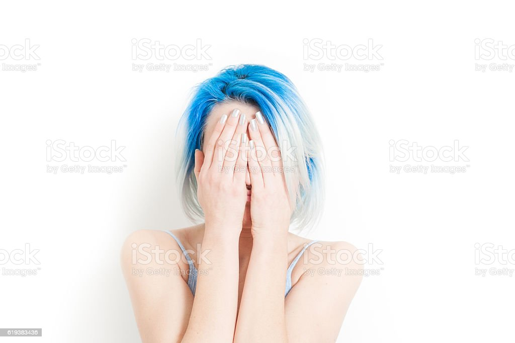 Desperate hands over the face stock photo