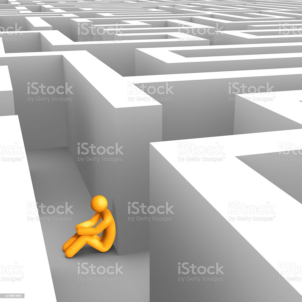 Desperate in Maze royalty-free stock photo