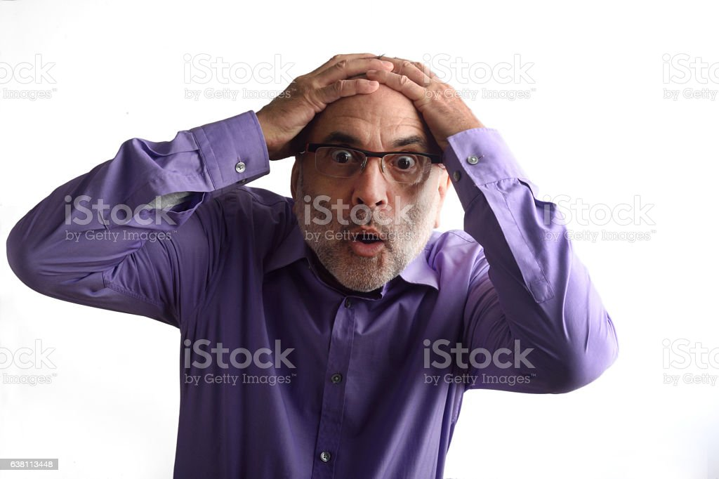 desperate man with white background stock photo