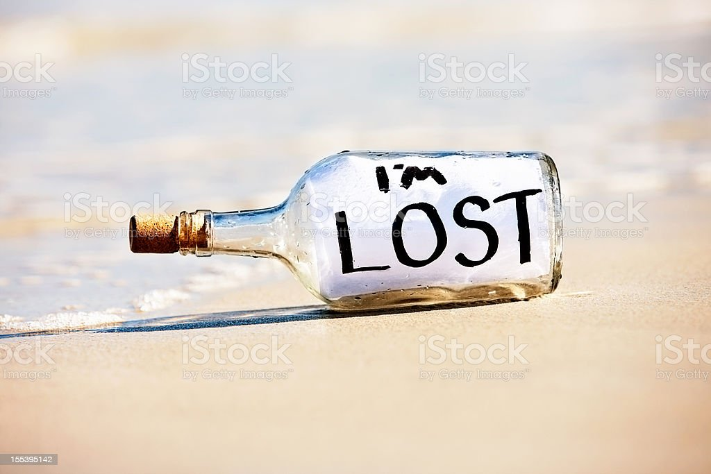 Desperate message Im lost in bottle stranded on beach royalty-free stock photo