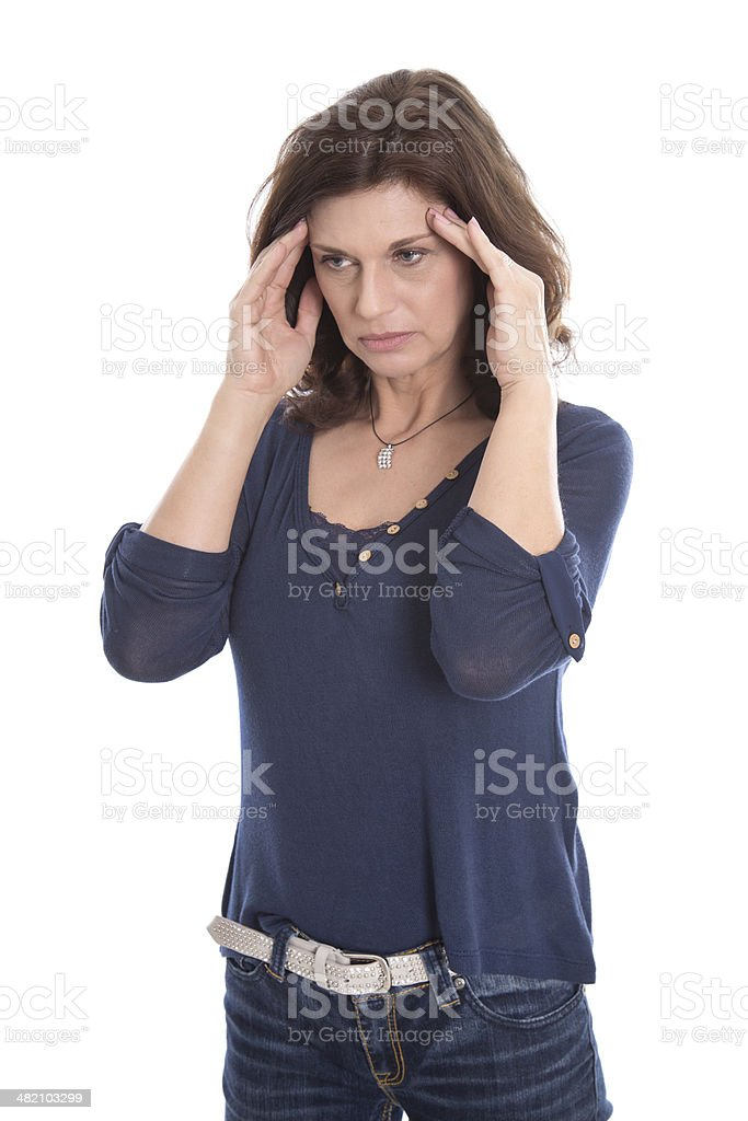 Desperate older isolated woman or headache. stock photo