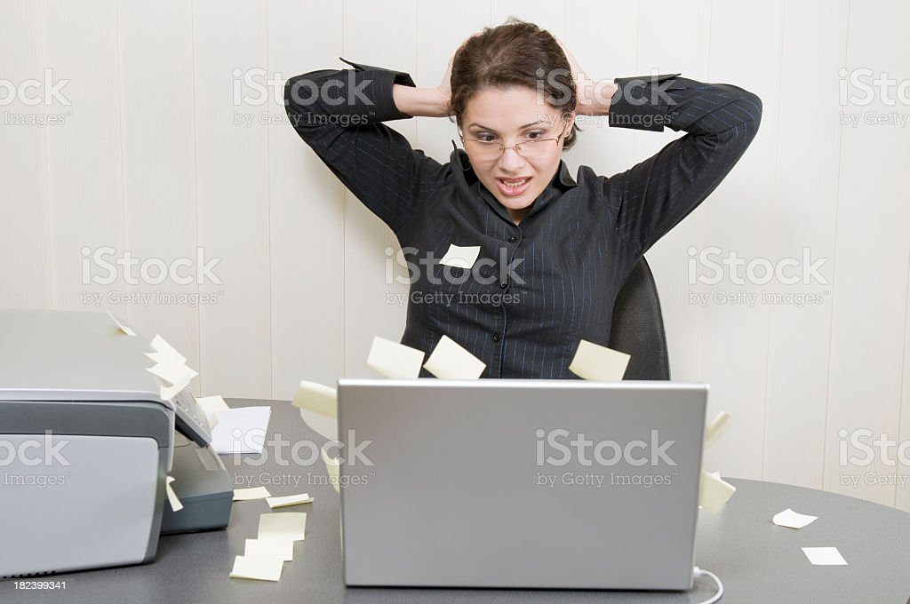 Desperate post it woman royalty-free stock photo