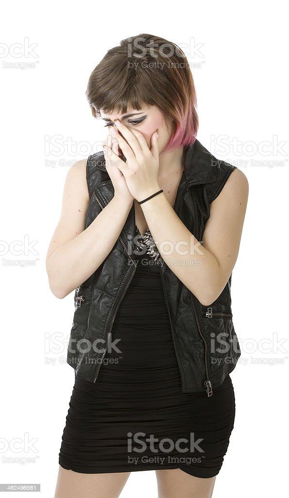 desperate punk crying stock photo