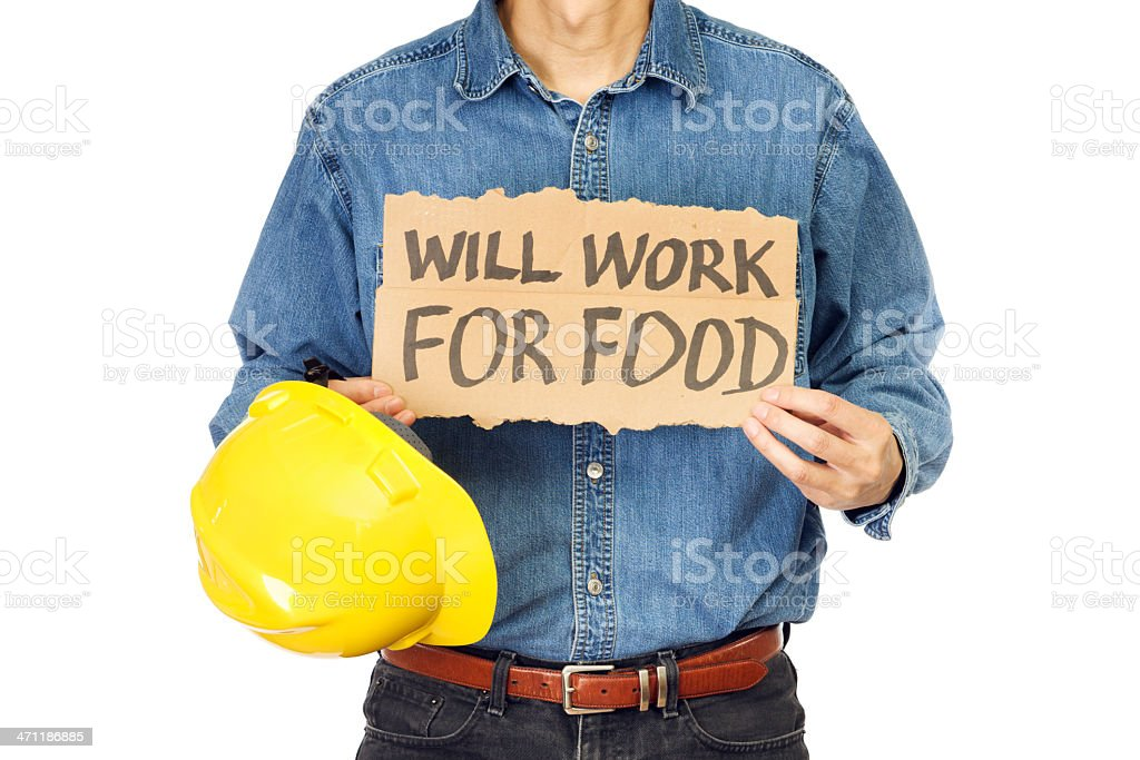 Desperate Unemployed Blue Collar Worker royalty-free stock photo