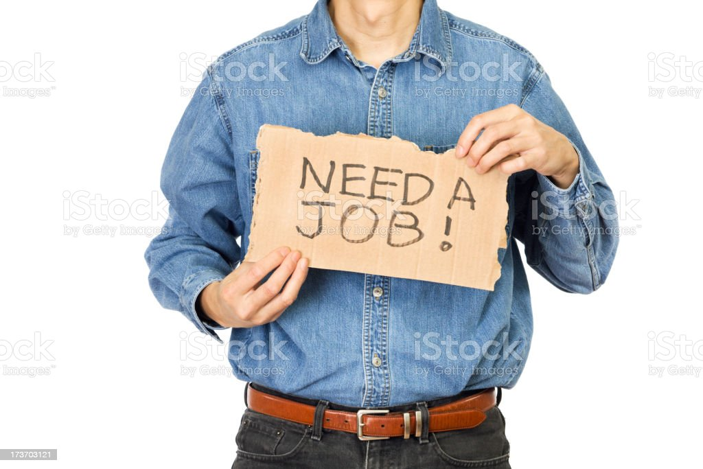 Desperate Unemployed Worker Searching Job stock photo