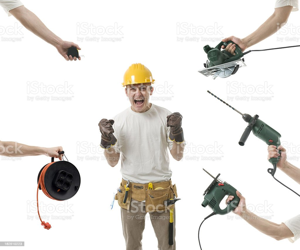 Desperate worker needs tools royalty-free stock photo