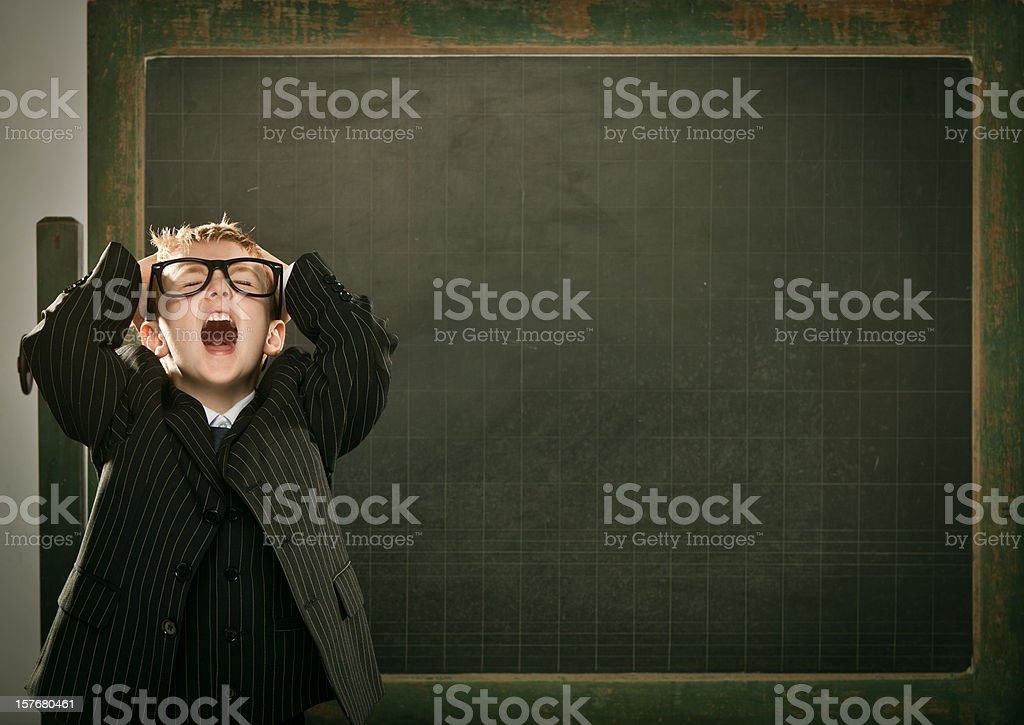 desperate young clever science student with copyspace blackboard stock photo