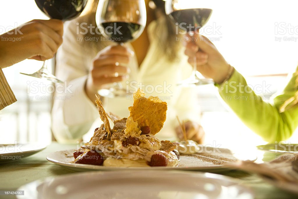 Dessert and wine royalty-free stock photo