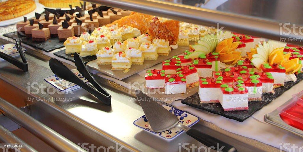 dessert buffet on a cruise ship stock photo