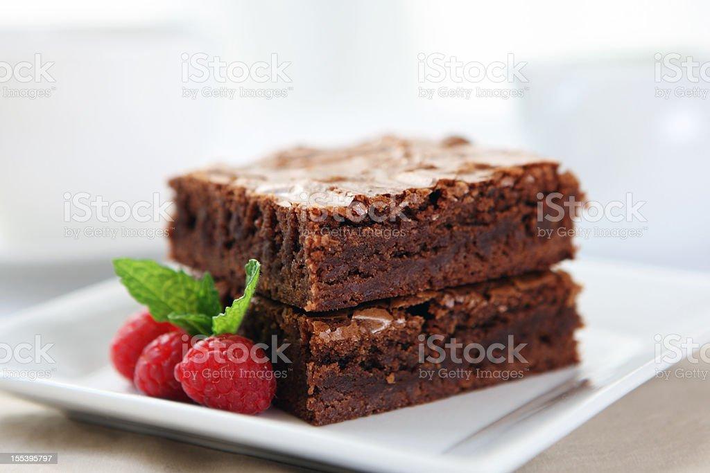 Dessert - chocolate brownie stock photo