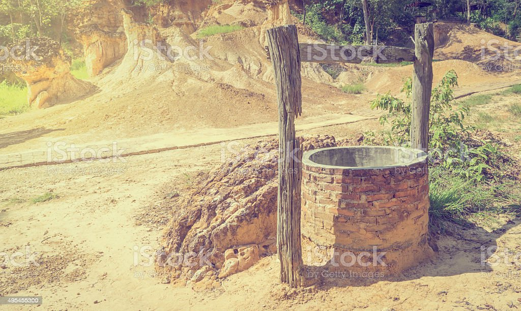 Dessert Hot Dry Water Well Oasis stock photo