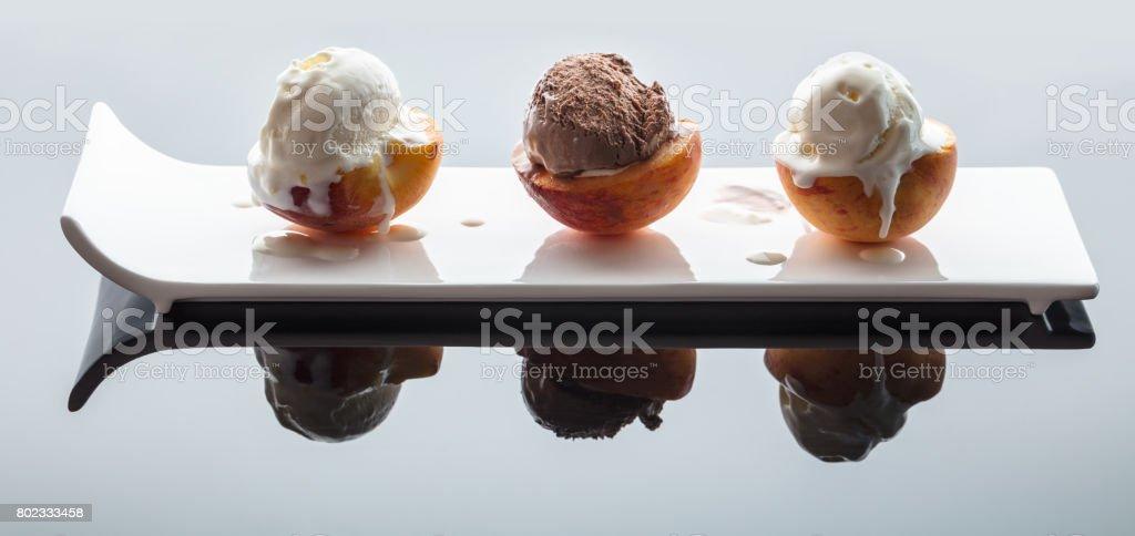 Dessert ice cream on peach stock photo