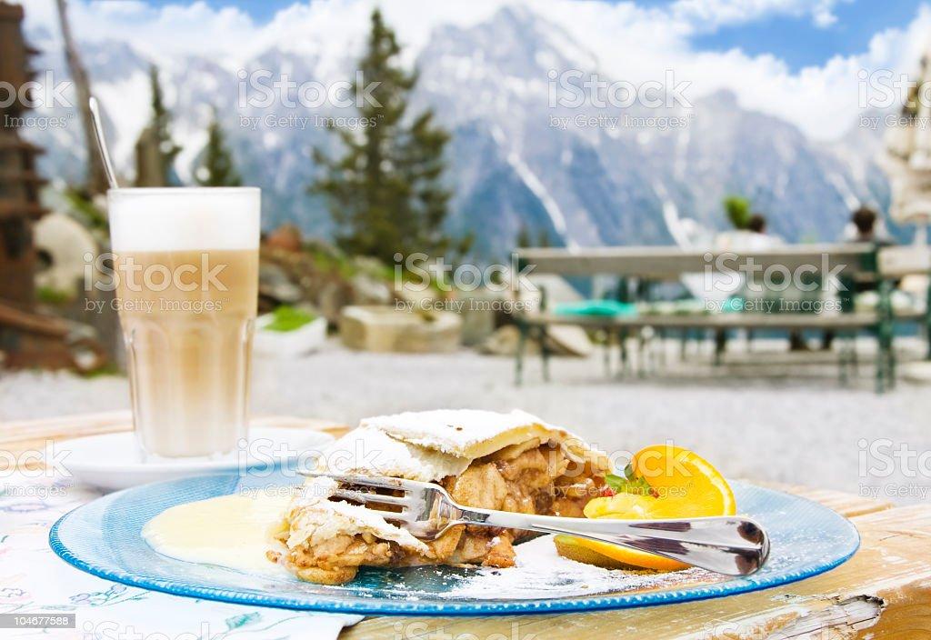 Dessert in alpine mountains. stock photo
