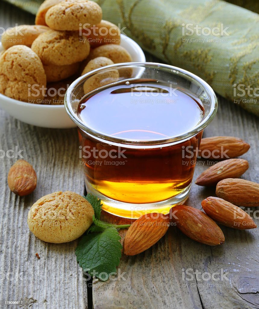 Dessert liqueur Amaretto with almond biscuits (amaritti) stock photo