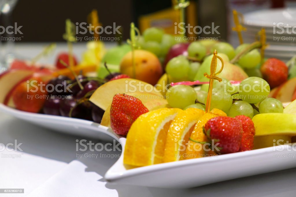 Dessert of fruit on the dining table stock photo
