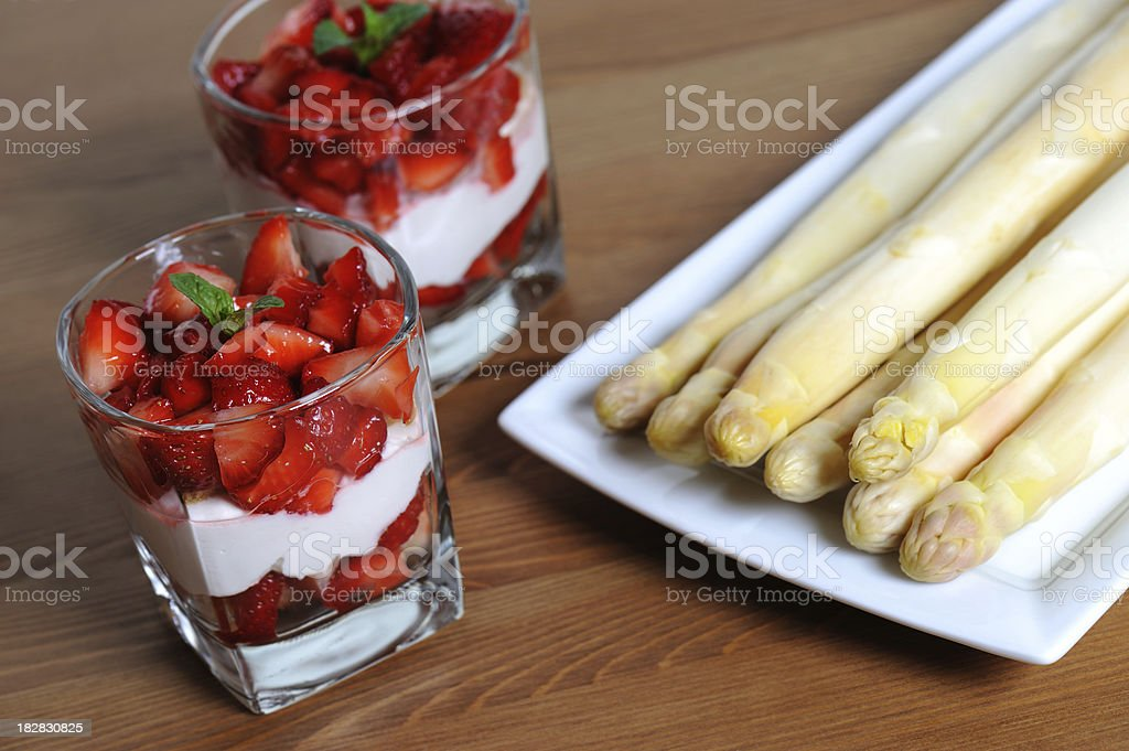 Dessert Red Strawberry and Vegetable White Asparagus royalty-free stock photo