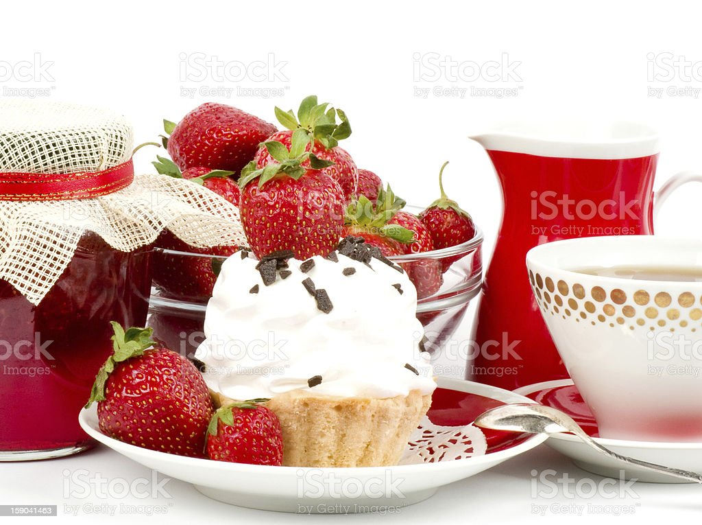 Dessert - sweet cake with strawberry on a plate royalty-free stock photo