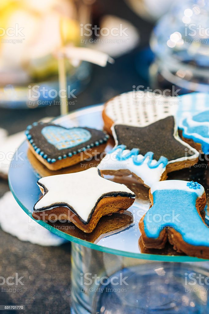Dessert Sweet Cookies in shape of  star,  boot  Candy Bar stock photo