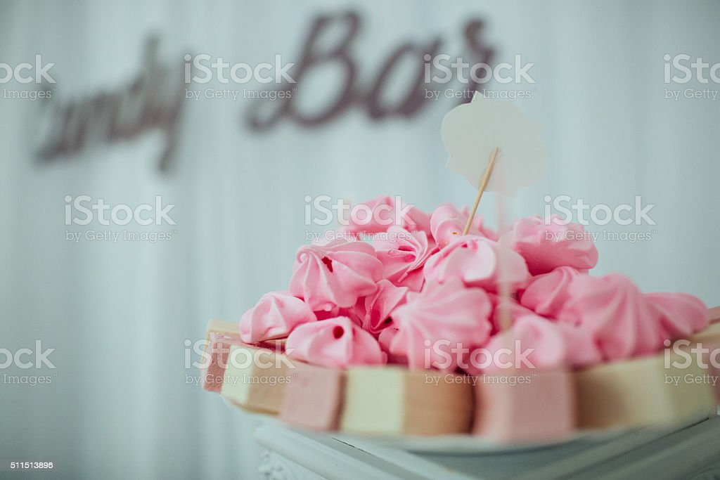 Dessert table and candy bar stock photo