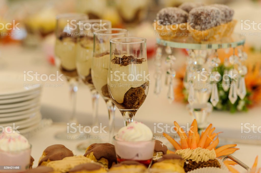 Dessert table for a wedding party stock photo
