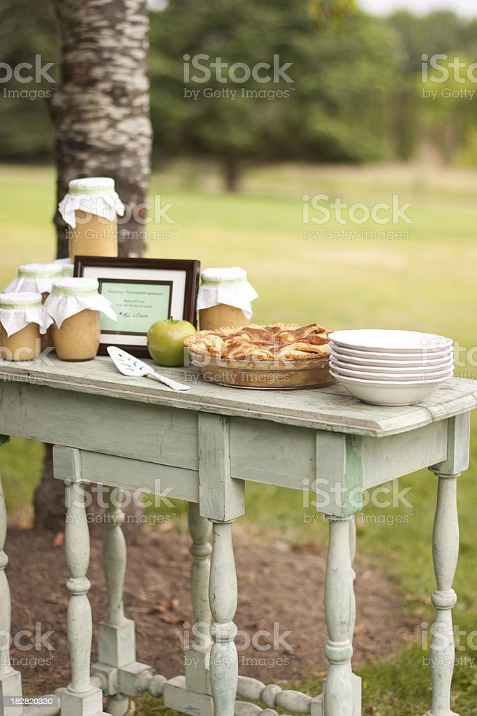 Dessert table in a field stock photo