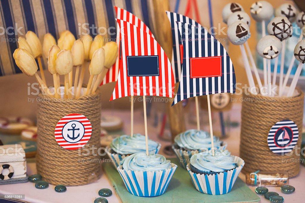 Dessert table in marina style stock photo
