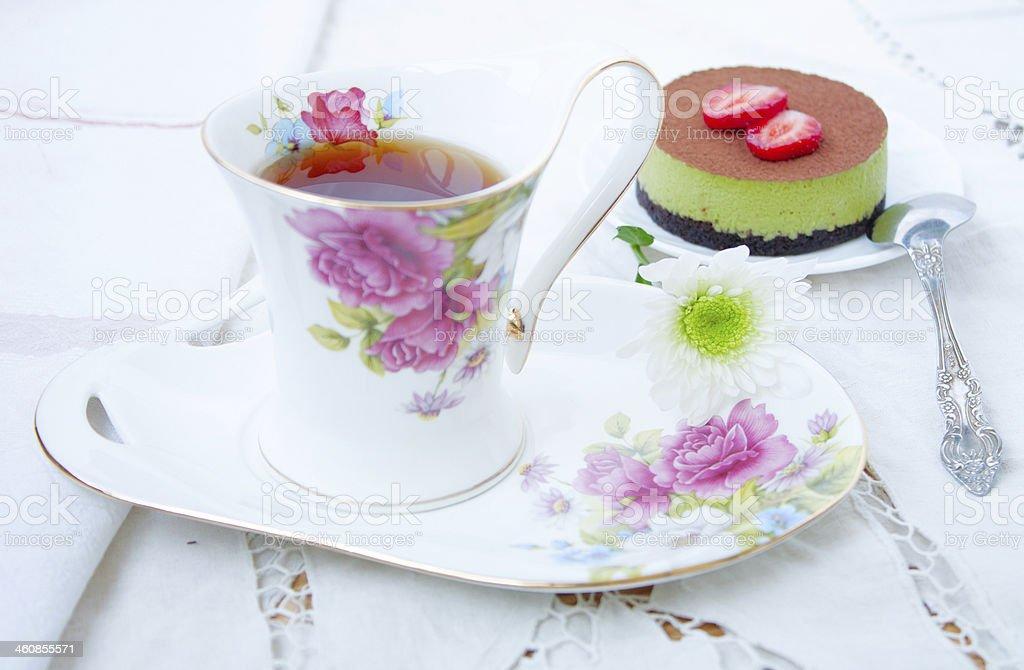 Dessert - tea and cake tiramissu royalty-free stock photo