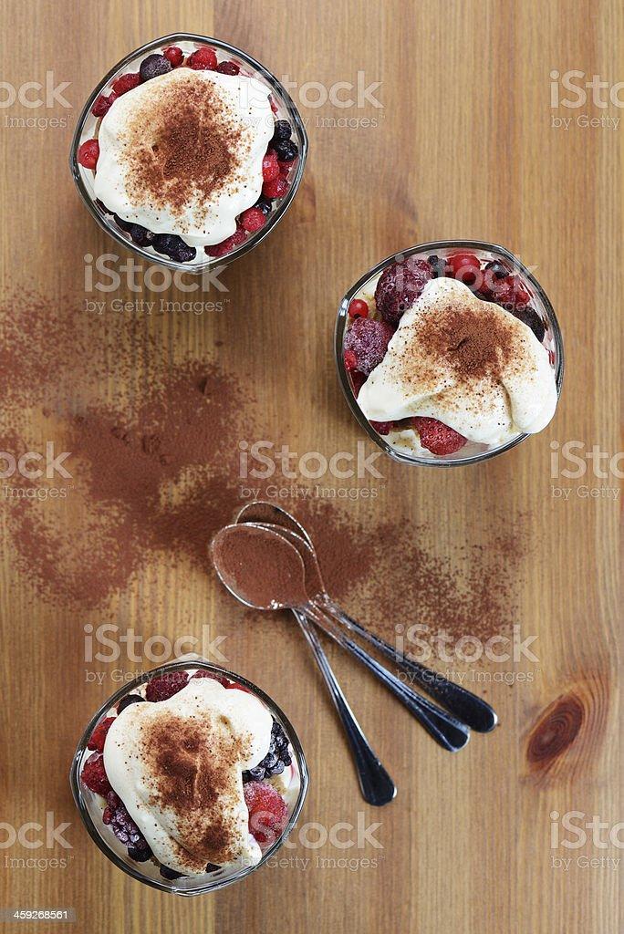 Dessert - Tiramisu with Mixed Berries and Biscuits stock photo