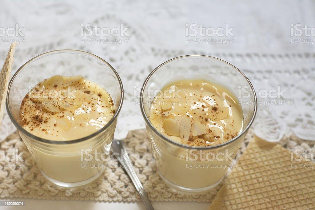 Dessert vanilla and almond cream royalty-free stock photo