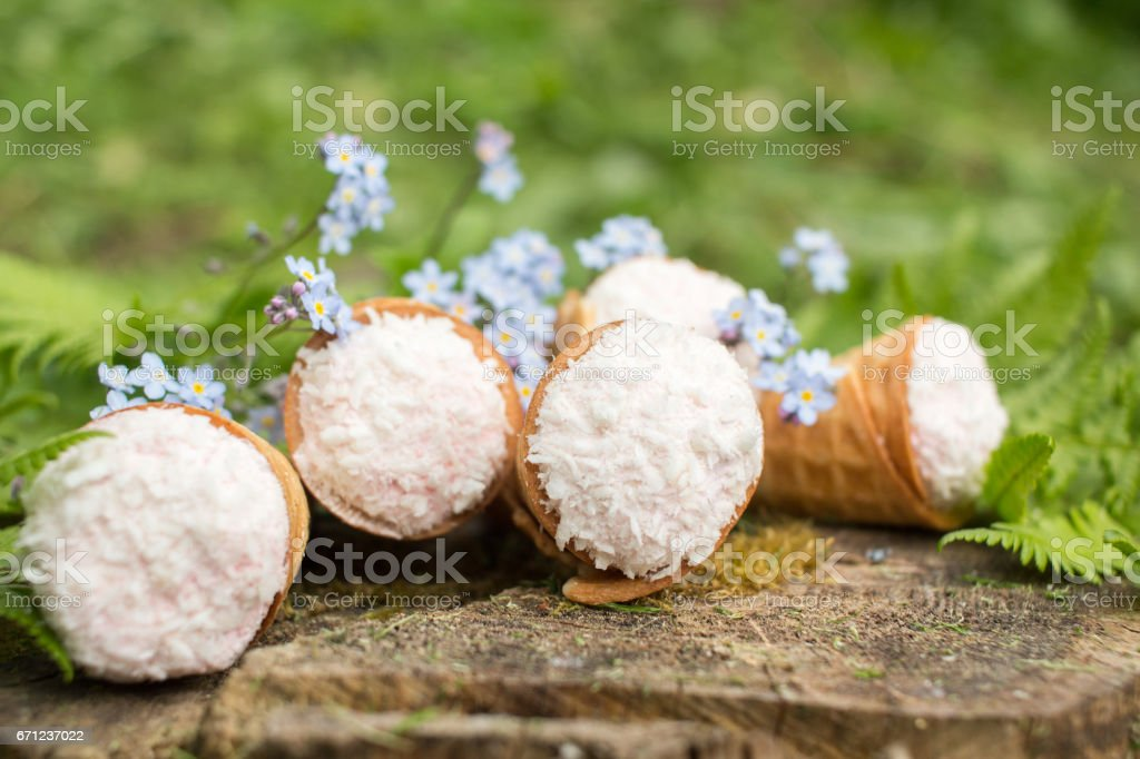 dessert - waffle cones in green leaves stock photo