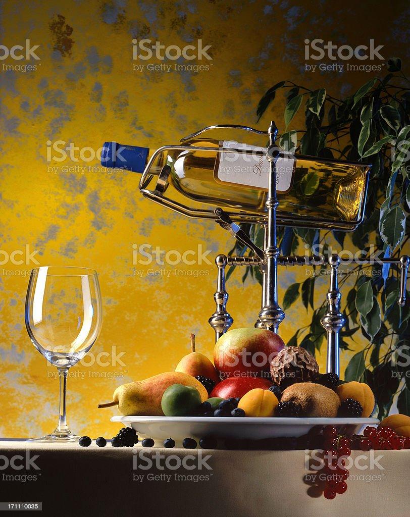 dessert wine and various fresh fruit royalty-free stock photo