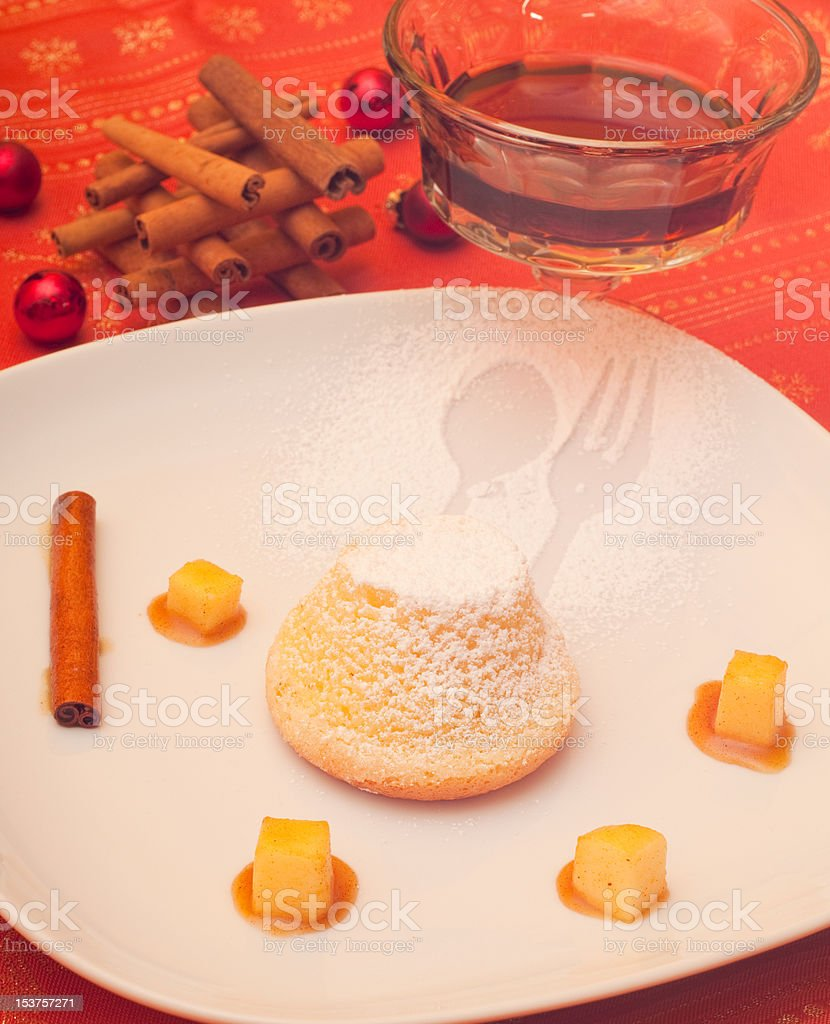 dessert with cinnamon apples and caramel souse stock photo