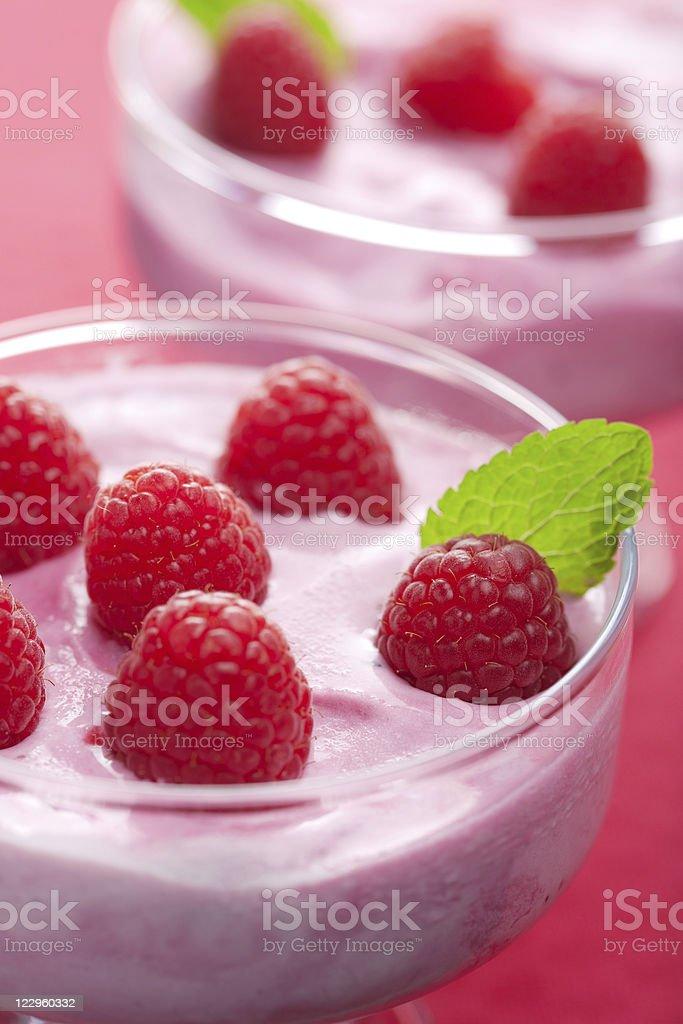 dessert with fresh raspberries royalty-free stock photo