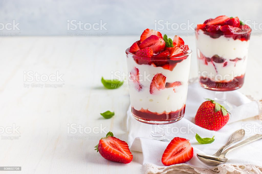 dessert with fresh strawberry,  cream cheese and strawberry  jam stock photo
