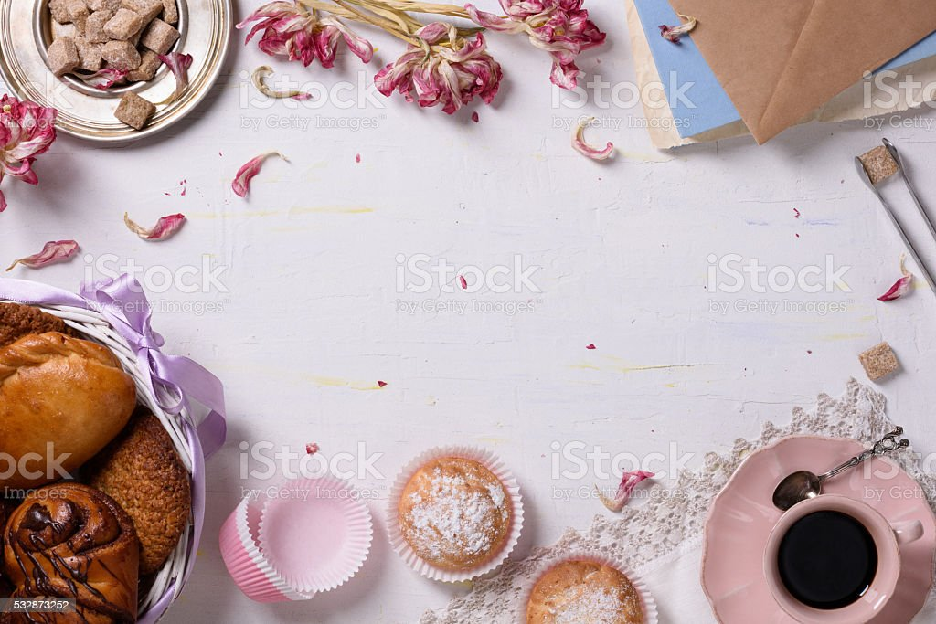 Desserts and coffee, food frame. stock photo