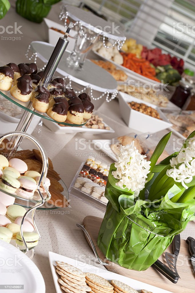 Desserts and Flower Arrangements royalty-free stock photo