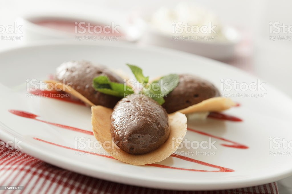Desserts: Chocolate Mousse Still Life royalty-free stock photo