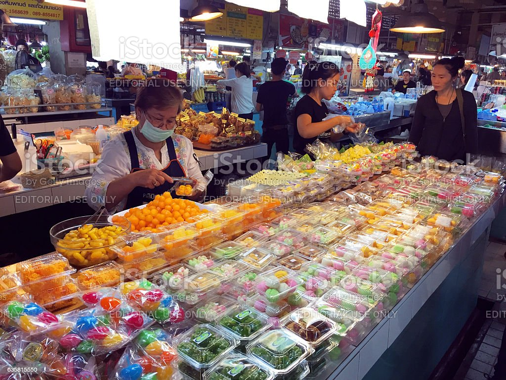 Desserts for sale in market in Chiang Mai, Thailand stock photo