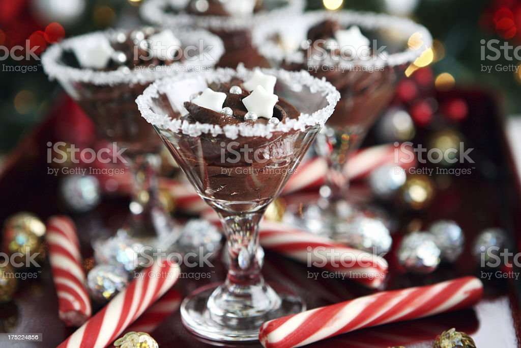 Desserts on decorated Christmas table royalty-free stock photo