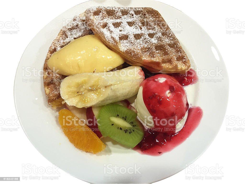 Dessert-waffles,fruits and ice cream! stock photo