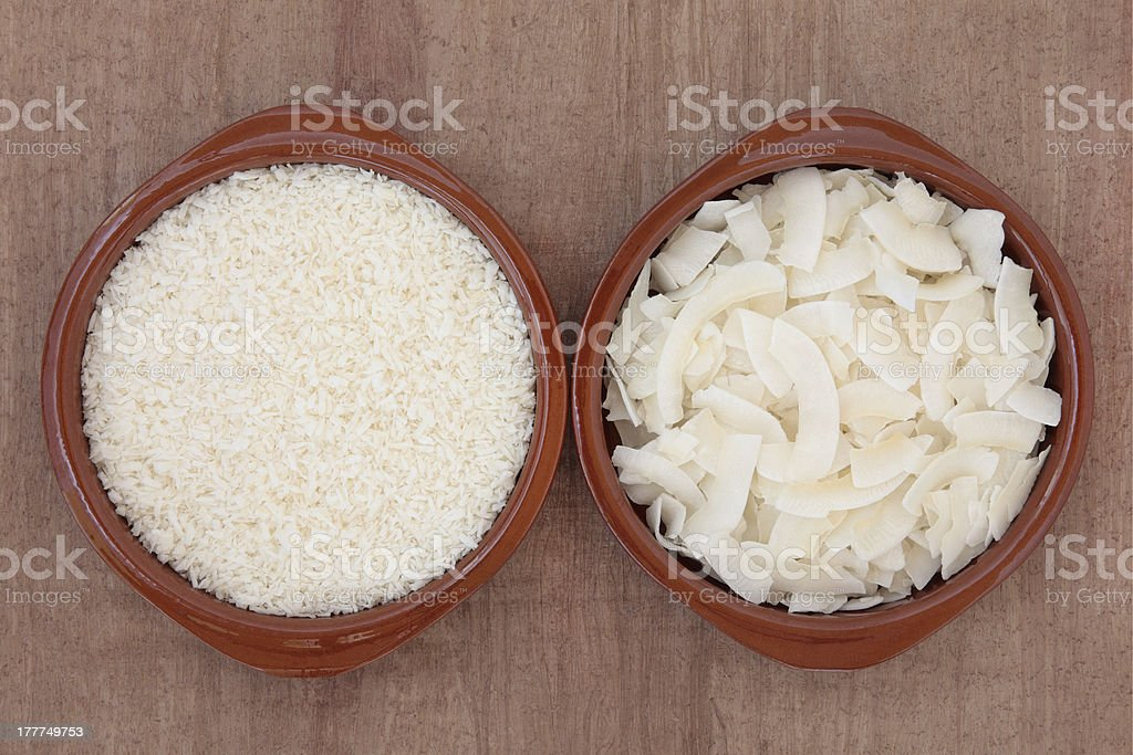 Dessicated Coconut and Flakes royalty-free stock photo