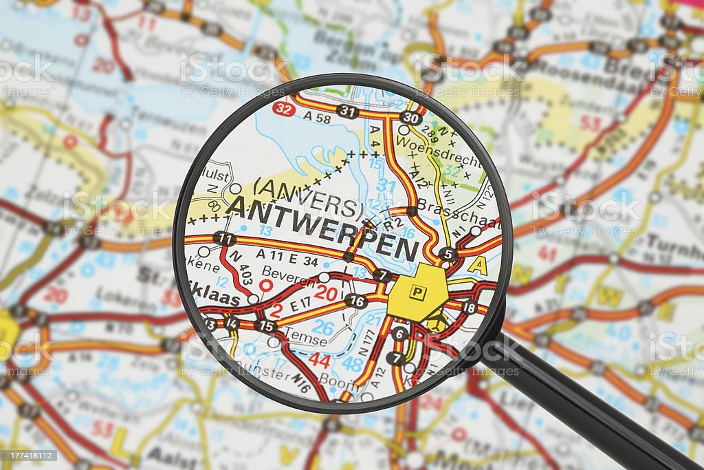 Destination - Antwerpen (with magnifying glass) stock photo