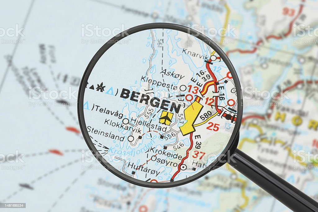 Destination - Bergen (with magnifying glass) royalty-free stock photo