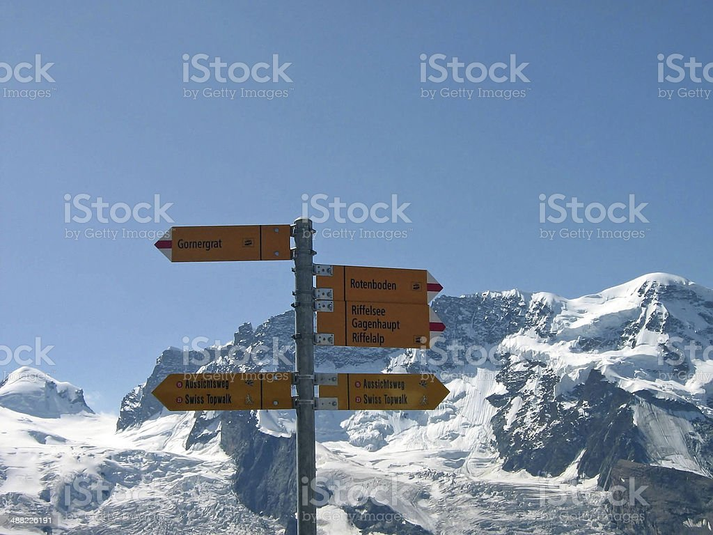 destination board in the swiss alps stock photo