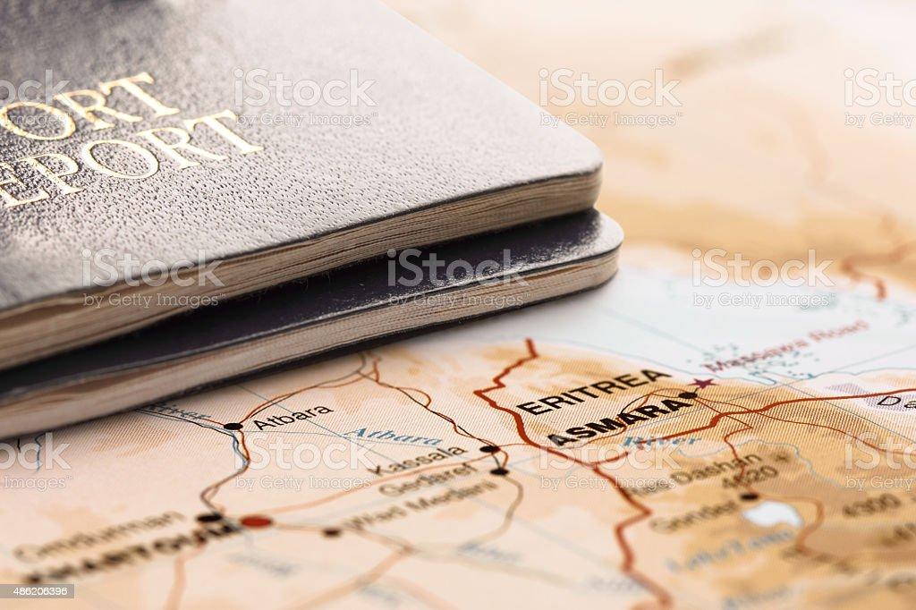 Destination Eritrea. Two passports on the map. Travel concept. stock photo