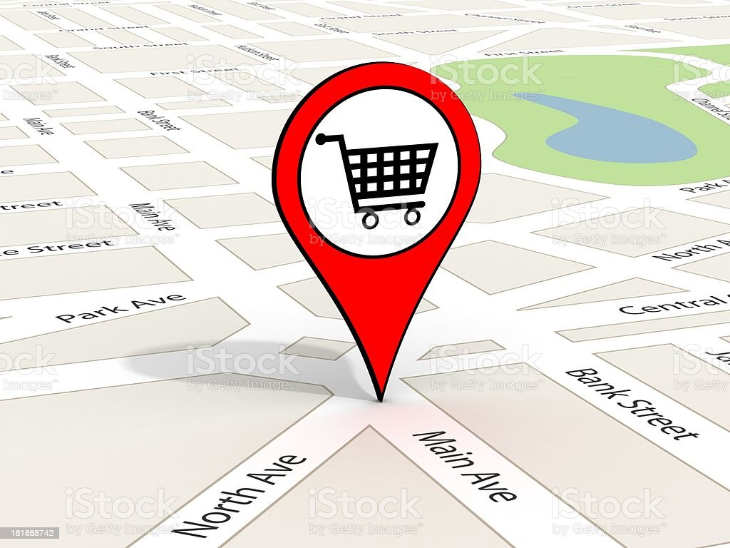 Destination Point on Map royalty-free stock photo