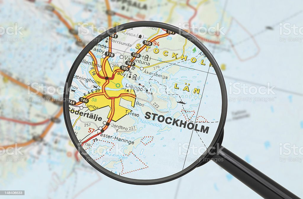 Destination - Stockholm (with magnifying glass) stock photo
