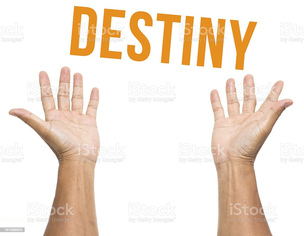 Destiny with two open hands isolated on white background stock photo